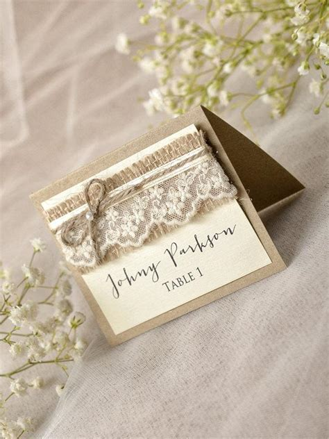 Wedding Card With Name by Rustic Place Cards 20 Lace Place Cards Grey Wedding