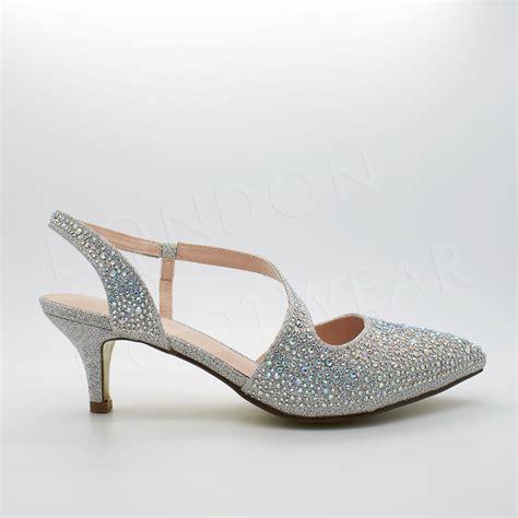 womens low kitten heel diamante sandals evening