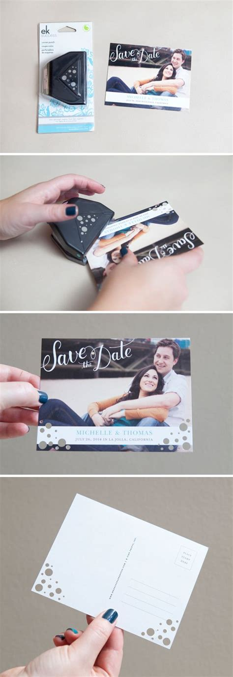 Wedding Paper Divas Save The Date Postcards by Easily Embellished Corner Punches On Wedding Paper Divas