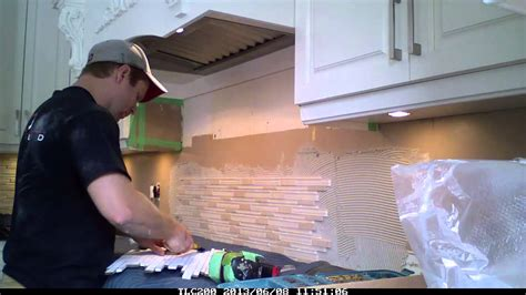 installing a plastic backsplash youtube backsplash installation glass stone mix mosiac timelapse