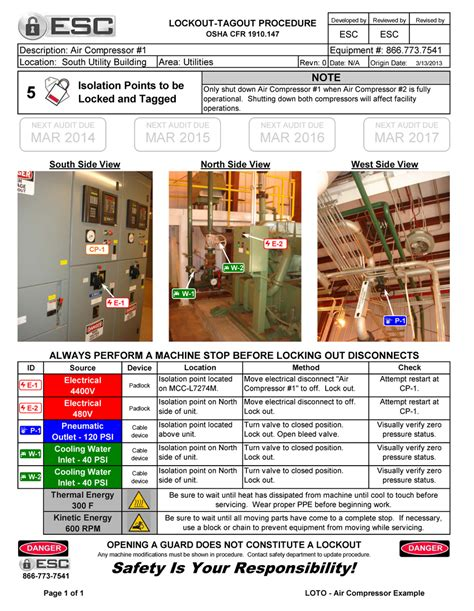lock out procedures template lockout tagout procedure exles