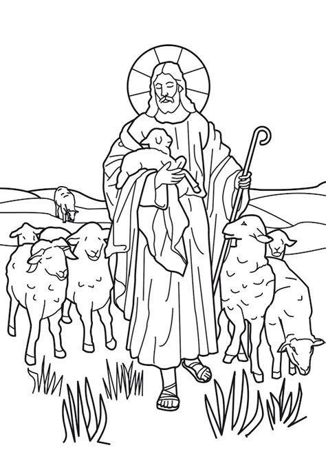 jesus is the good shepherd bible coloring page coloring