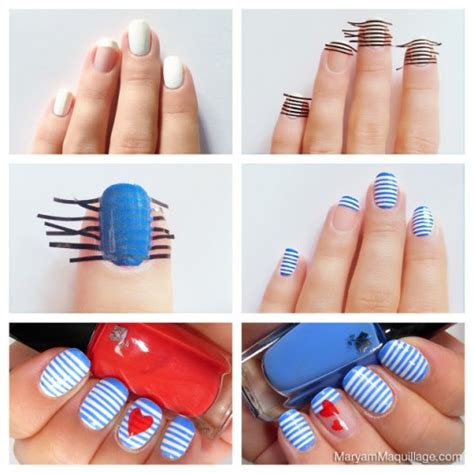 Steps To A Diy Manicure by Diy Sailor Stripes Nail Manicure How To