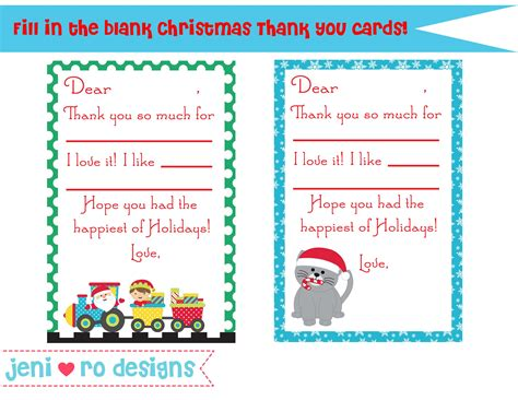 Printable Thank You Cards For Students Christmas | christmas thank you notes for kids free printable