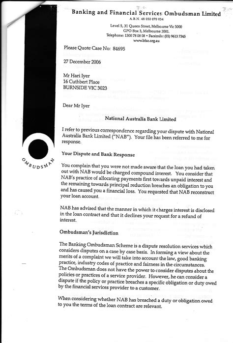 Financial Ombudsman Letter Writing Exercise Westpac Banking Corporation S Interest Fraud