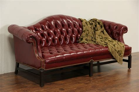 library sofa sold red leather vintage tufted library sofa custom