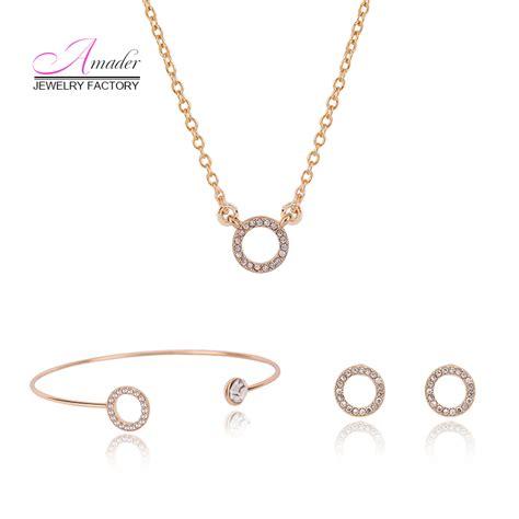 3pc Necklace Set trendy gold 3pc jewelry set pendant necklace stud earrings bangle sets fashion