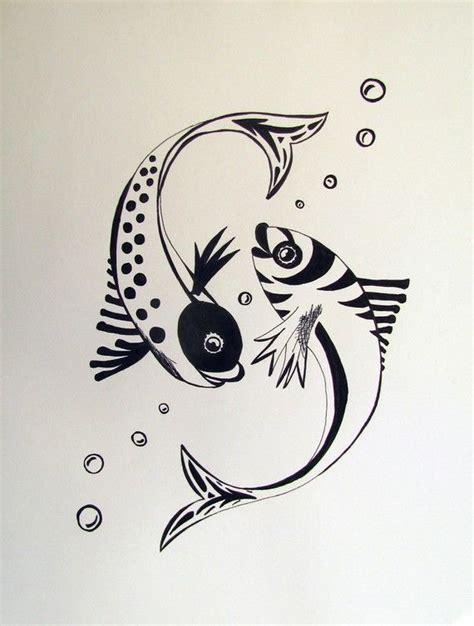koi fish swimming original ink drawing  andpersestudios