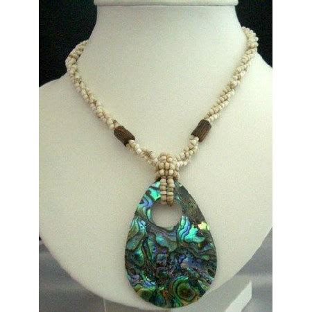 Handcrafted Beaded Necklaces - handcrafted beaded necklace w abalone shell