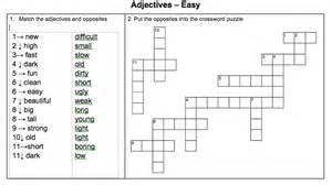 worksheet basic adjective matching amp crossword puzzle