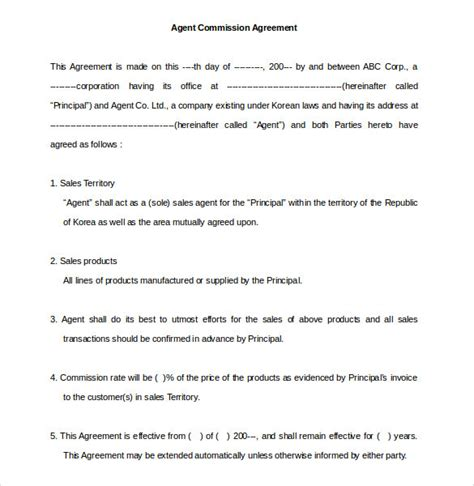 Commission Agreement Letter Sle Commission Agreement Template 12 Free Word Pdf Documents Free Premium Templates