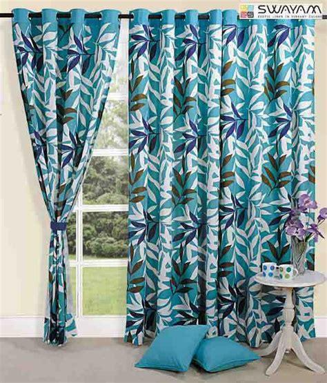 turquoise print curtains swayam turquoise leaf print curtain buy swayam turquoise