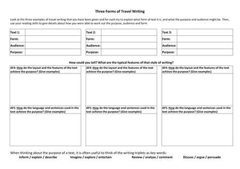 brochure template ks3 comparing travel writing exles by tafkam teaching