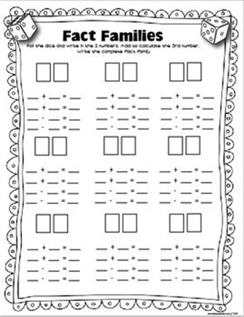 Free Fact Family Worksheets by Free Dice Fact Families Greater Than Less Than