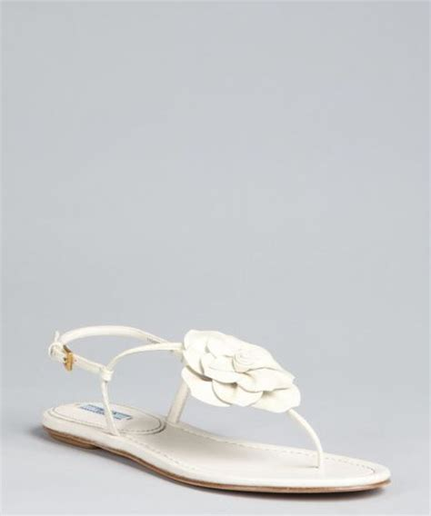 ivory flower sandals prada ivoery patent leather flower sandals in white