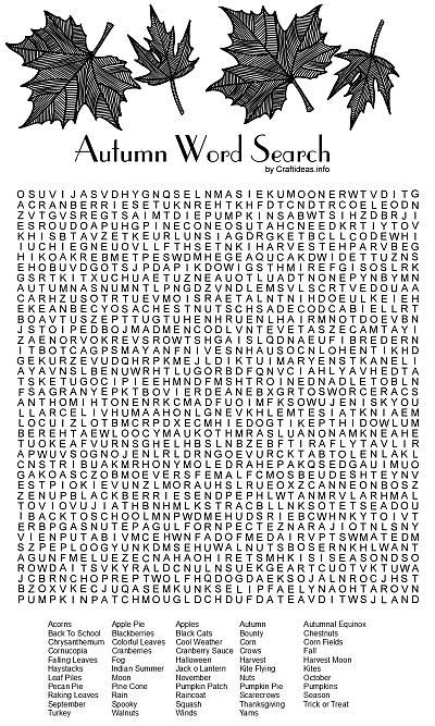 Free Fall Printable - Autumn Word Search Puzzle For All Ages