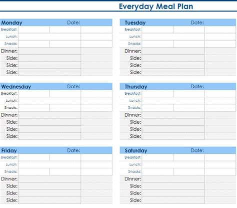 Daily Meal Planner My Excel Templates Daily Meal Planner Template
