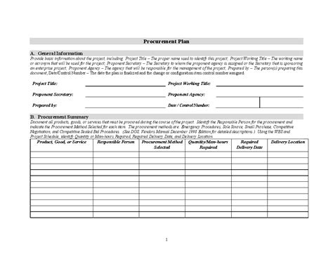 procurement policy template free planning template word plan template word