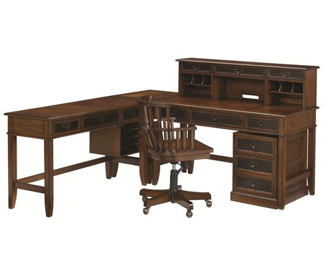 mercantile l shaped desk and credenza by hammary wolf