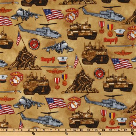 Marine Corps Fabric Quilting by United We Stand Marine Corps Khaki Discount Designer