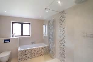 Photo of minimalist modern beige white bathroom with bath bath tub