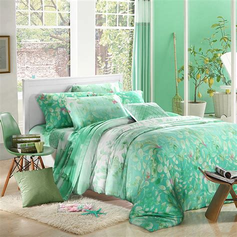 mint green bed sheets mint green leaf print bedding sets luxury queen king size