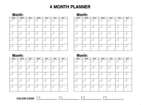 Calendar 4 Months 4 Month Calendar Planning Boards