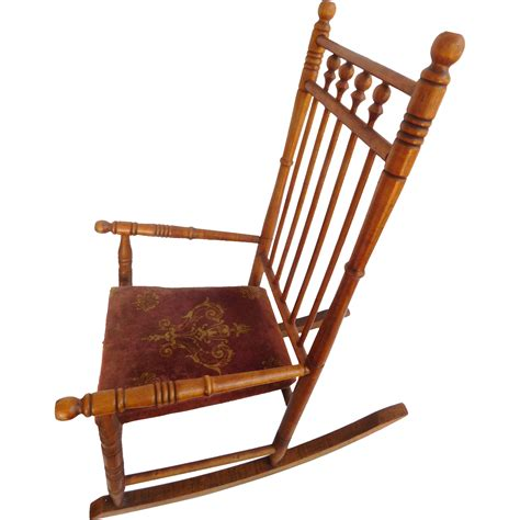 Wooden Spool Chair by Child S Spool Rocking Chair Wood Cloth Seat From Artgate