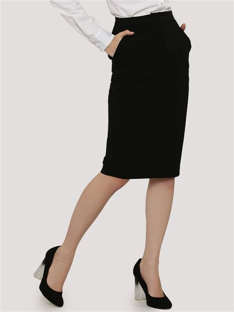 buy koovs tailored pencil skirt for s black