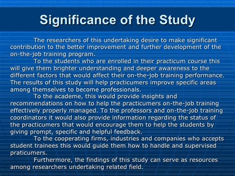 How To Make Significance Of The Study In Research Paper - factors that affect the on the of