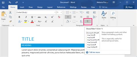 word hide layout characters how to show formatting marks in microsoft word