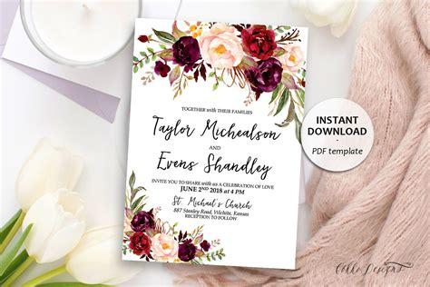 Marsala Floral Wedding Invitation Boho Wedding Template Etsy Wedding Templates