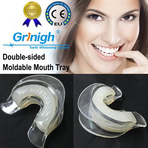 dual moldable soft silicone teeth whitening mouth trays