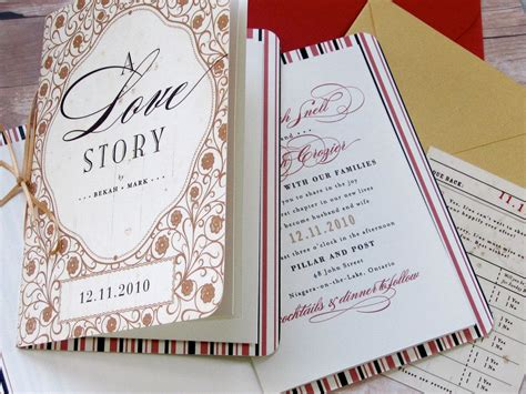 storybook tale happily after library themed invitation for wedding or vow renewal