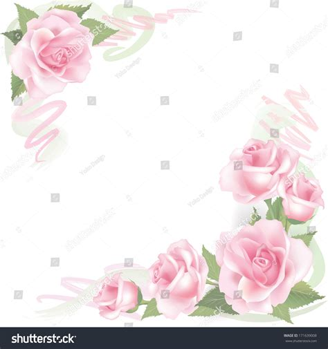 Vector Backgrounds With Roses For Invitations flower background floral frame pink stock vector 171639008