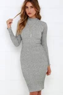 chic grey dress midi dress bodycon dress sweater dress 59 00