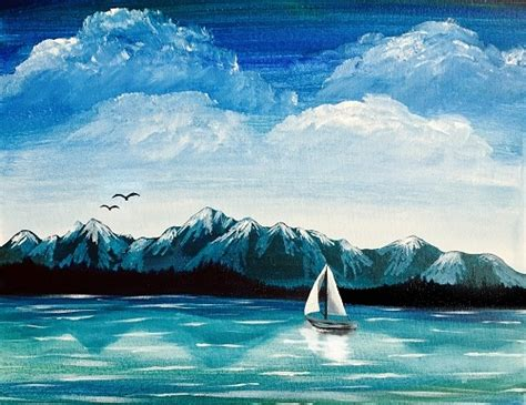 paint nite olympia paint nite olympic mountains sail