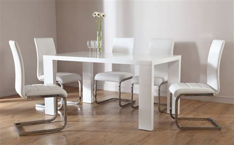 White High Gloss Dining Table And 4 Chairs Stockholm Perth White High Gloss Dining Table 4 6 Leather Chairs Set White Ebay