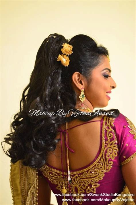 hairstyles for south indian reception indian bride s reception hairstyle by vejetha for swank