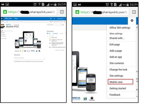 mobile view working with sharepoint 2013 on mobile devices