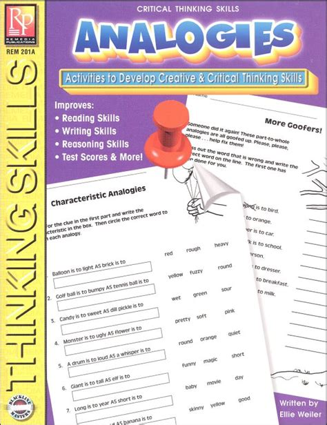 Critical Thinking Analogies Worksheet by Analogies Critical Thinking Skills 036638 Details