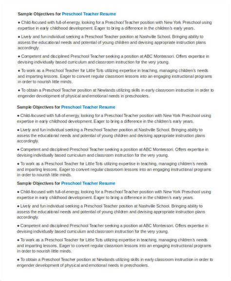 29 Basic Teacher Resume Templates Pdf Doc Free Premium Templates Preschool Resume Template Free