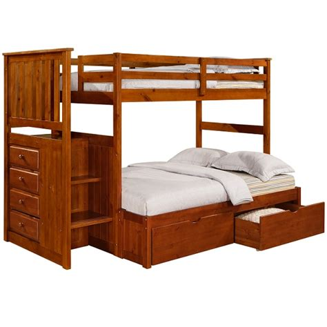 stairway bunk bed solid pine mission stairway bunk bed
