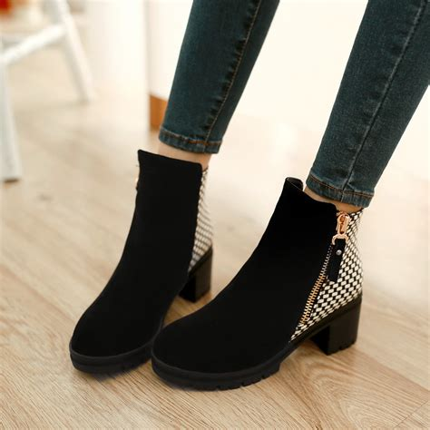 stylish pumps high heels fashion ankle boots high heels chunky heel black blue