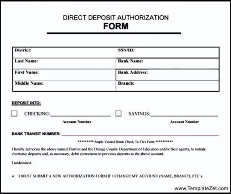 generic deposit slip template direct deposit authorization form in pdf