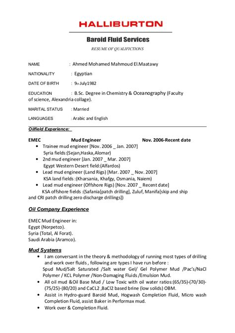 resume format date of birth cv halliburton format