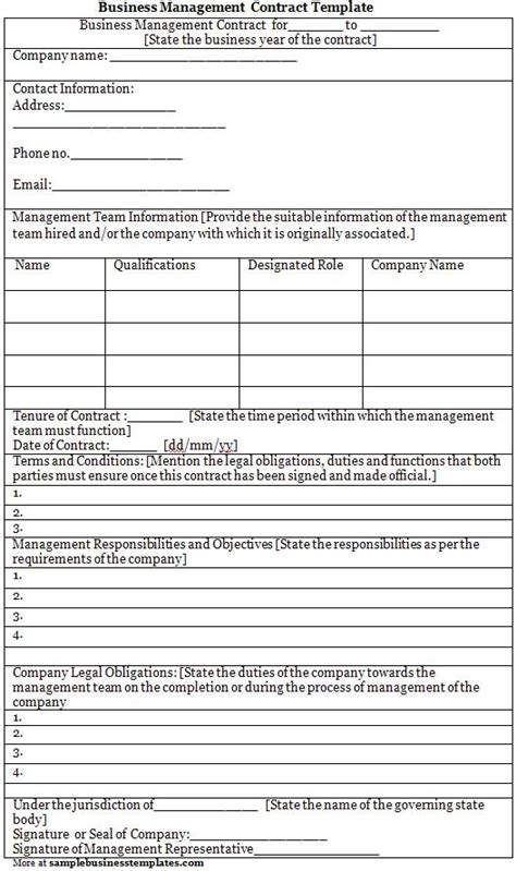 business contract template free management contract template construction management