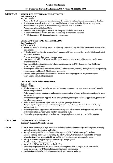 resume format for experienced linux system administrator linux systems administrator resume sles velvet