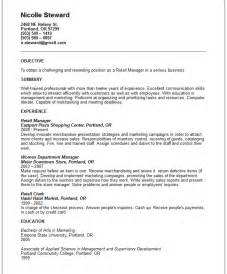 retail manager resume exle free templates collection
