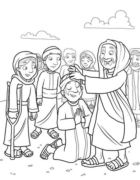 coloring page jesus healing sick heals the sick because miracles of jesus coloring page